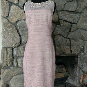 Mauve Pink Embellished Mesh Ruched Dress
